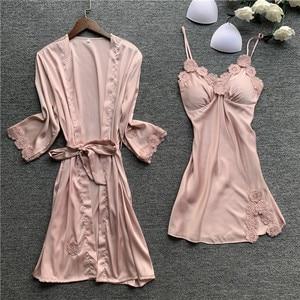 Image 3 - Spring New Lace Sexy Women Robe Set With Chest Pad Nightdress Cardigan Set Sleepwear