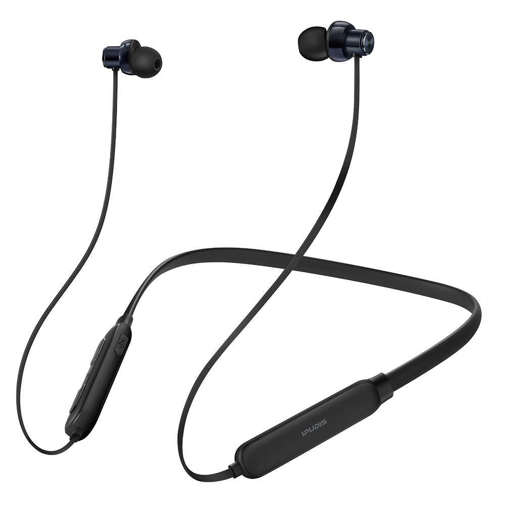 IPUDIS ネックバンドの Bluetooth イヤホン IPX5 防水スポーツワイヤレスステレオヘッドホンマグネットヘッドセット 130 とマイク