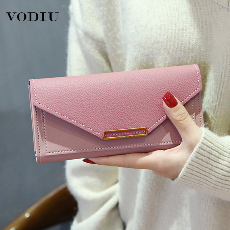Women's Wallet Leather 2019 Fashion Ladies Long Wallet Cluth Multi-functional Leather Purse Card Holder Package Women Wallets