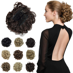 Messy Curly Hair Extensions Combs Clip In Bun Hair Extensions Stretch Scrunchie Chignon Tray Ponytail Hairpiece Hairpieces