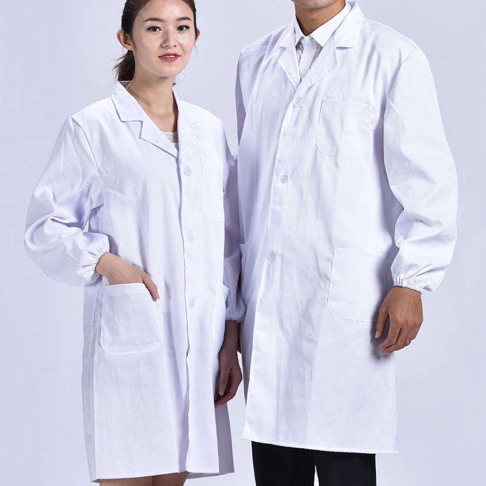 Unisex Long Sleeve White Lab Coat Lapel Collar Button Down Medical Doctor Blouse 649C