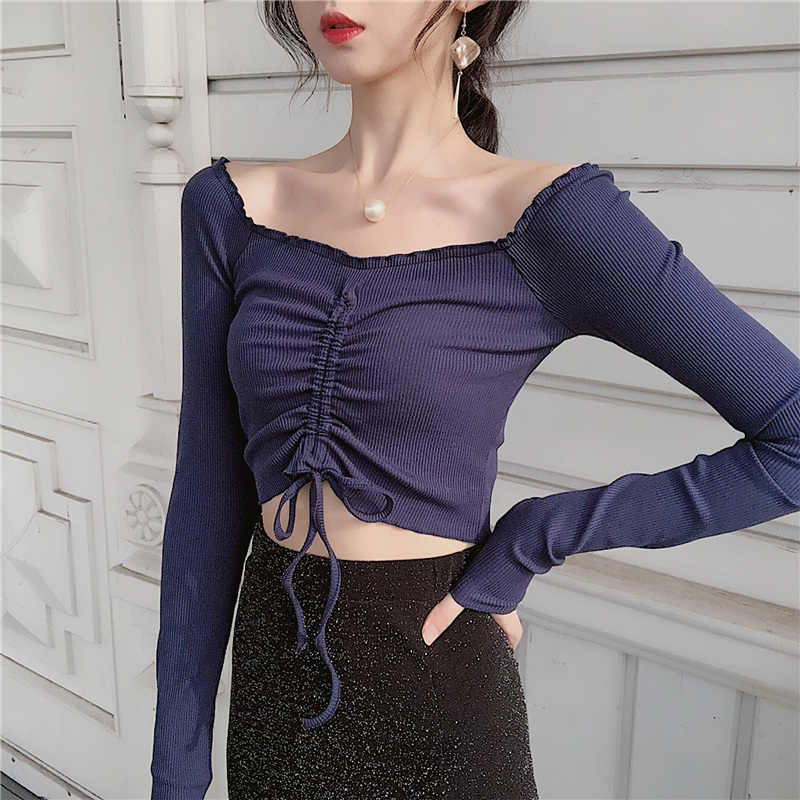2019 Vrouwen Slanke Volledige Mouw Ruches Slash Neck Cropped Tee Shirts Lady Stretchy Draw String Crop Tops T-shirts Voor Meisjes