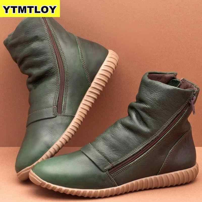 Yeni kadın PU deri yarım çizmeler kadınlar kış çapraz Strappy Vintage kadınlar serseri çizmeler düz bayan ayakkabıları kadın Botas mujer