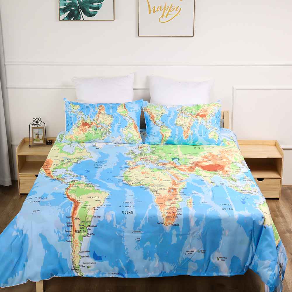 US $21.92 49% OFF|World Map Bedding set HD Print Duvet Cover Pillowcases  Twin Full Queen King Size bed set 3pcs dropshipping-in Bedding Sets from  Home ...