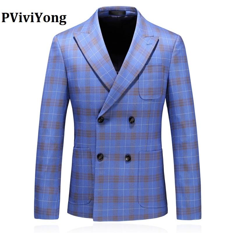 PViviYong Brand 2019 High Quality Men's Suit Top,suit Jacket Men  Business Suit Double-breasted  Blazer Men Plus-size S-5XL