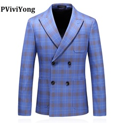 PViviYong Marke 2019 hohe qualität männer anzug top, anzug Jacke männer Business anzug zweireiher Blazer männer plus-größe S-5XL