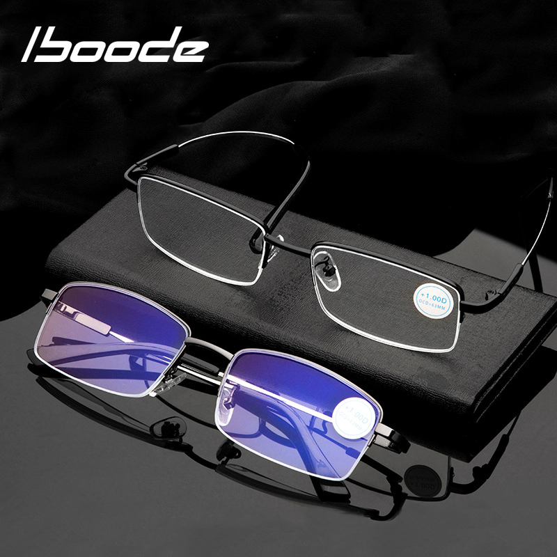 Iboode Ultralight Metal Titanium Reading Glasses Anti Blue Ray UV Protect Presbyopic Glasses For Presbyopia Half Frame Men Women