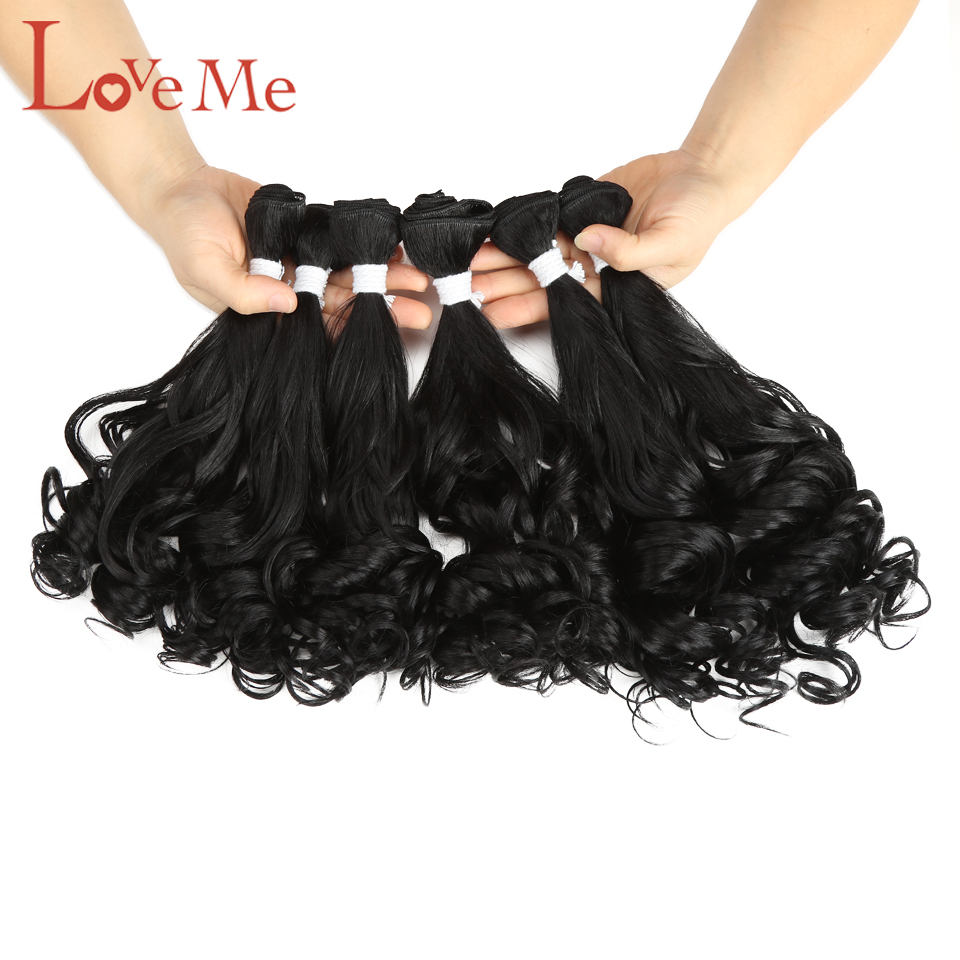 LOVE ME Synthetic Hair Bundles With Closure Ombre Loose Wave 6Pcs Hair With Closure High Temperature Fiber Hair Extensions