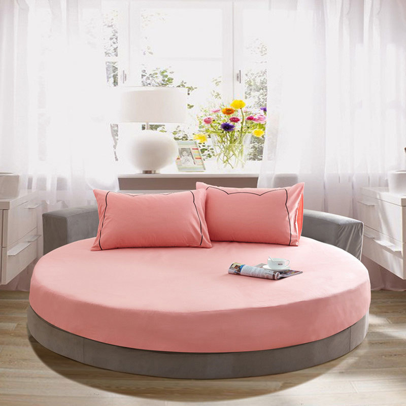 100% Cotton Fitted Sheet Solid Color Bedspread Round Bed Sheet With Elastic Band Bed Linen For Round Mattress Cover Home Textile