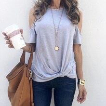 2020 Summer Off Shoulder Women T Shirt Button Casual Female Tops Tee
