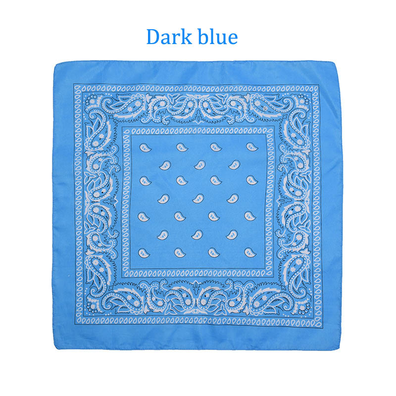 55 см* 55 см, унисекс, черная бандана, модный головной убор, повязка на голову, шейный шарф, повязки на запястье, квадратные шарфы, платок с принтом, Прямая поставка - Цвет: Dark blue