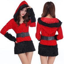 Red Black /White Sexy Ladies Velvet Dress santa costumes Adult Mrs Santa Claus Outfit for Women hooded belt Christmas dress(China)