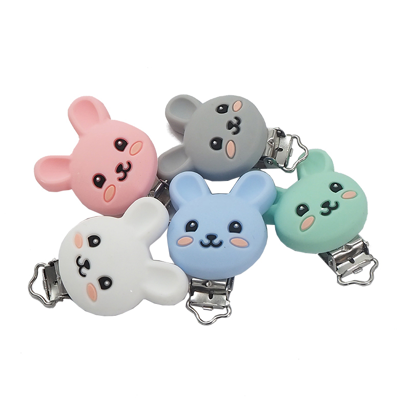 Chenkai 5pcs Silicone Rabbit Clips BPA Free DIY Baby Animal Pacifier Dummy Teether Nursing Soother Sensory Toy Gift Accessories
