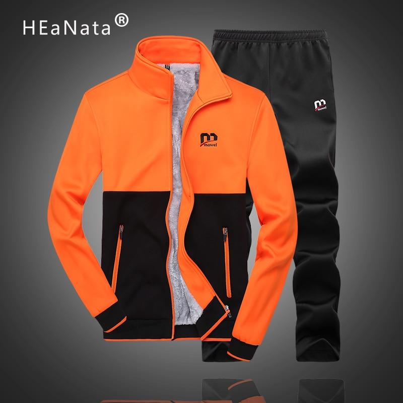 Fashion Winter Warm Thicken Fleece Jackets Men Pants Casual Multi Color 2PCS Sporting Joggers Sets Male Sportwear Men Tracksuit