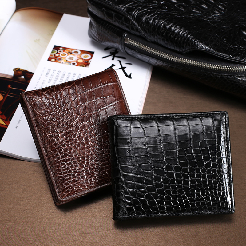 new Thailand crocodile leather men's small wallet short large banknote clip multi-card genuine leather wallet for free shipping