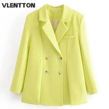 Женский пиджак на пуговицах однотонный с разрезом в винтажном