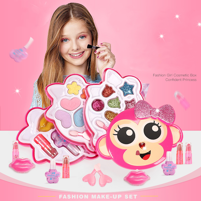 Girls Make Up Toy Set Pretend Play Princess Pink Makeup Beauty Safety Non-toxic Kit Toys For Girls Dressing Cosmetic Kids Gifts