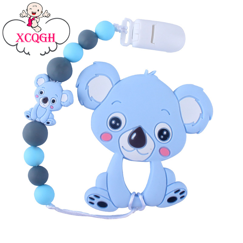 XCQGH Baby Silicone Pacifier Chain Baby Cute Animal Koala Silicone Molar Teether Anti-lost Pacifier Teether Chain