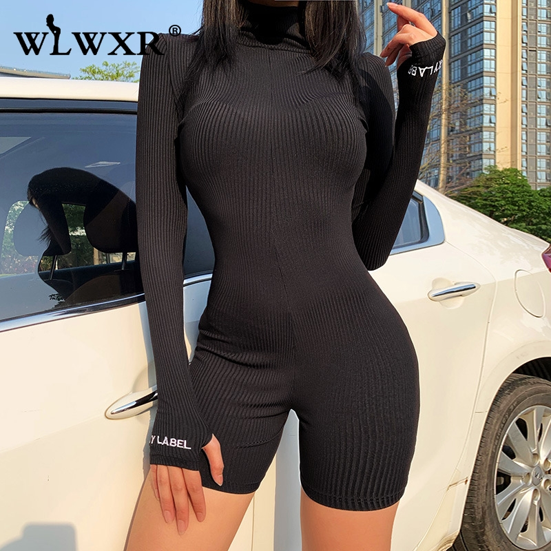 WLWXR Lucky Knitted Sexy Summer Rompers Womens Jumpsuit Short Playsuit 2020 Long Sleeve Ladies Short Black White Jumpsuit Female
