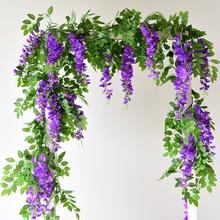170CM Artificial Wisteria Vines Ivy Garland Plants Foliage Plastic Faux flowers