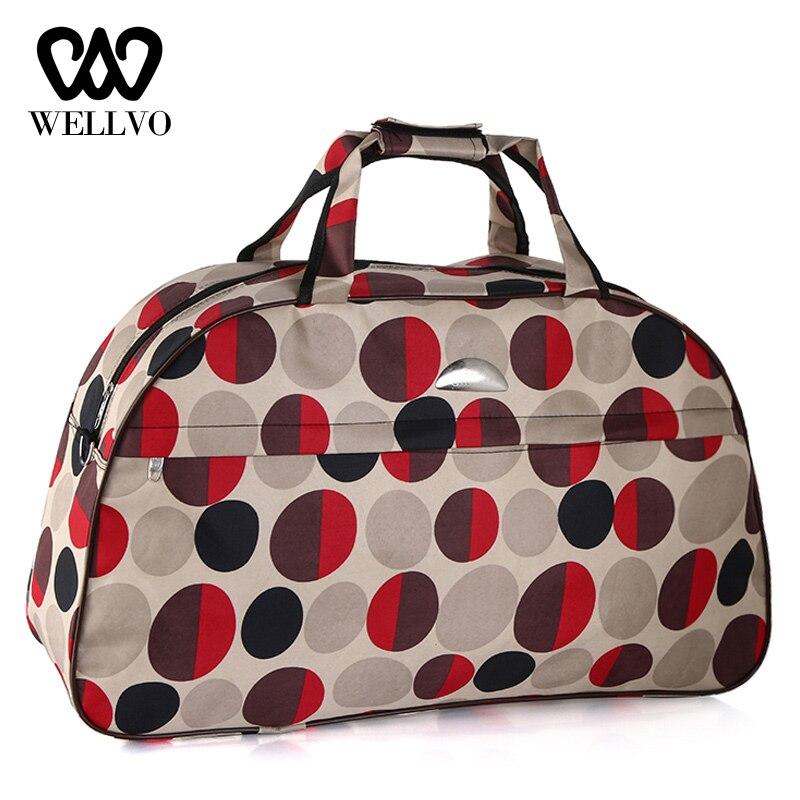 Lovely Women Dot Travel Bag Girls Luggage Duffle Shoulder Bags Nylon Handbag Weekend Tote Big Bag Bolso Deporte Gimnasio XA694WB