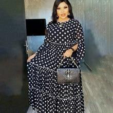 Abaya dubai maxi africano design manto vestidos vestido senhora festa pontos brancos