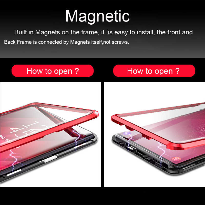 360 Полный чехол для samsung Galaxy S8 Plus S8Plus S9 Note 9 8 магнитный металлический бампер закаленное стекло чехол для samsung S8 чехол