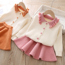 Autumn Children Clothing Sets Solid Knitted Cardigan Sweater Pleated Skirt 2pcs Baby Girls Suits Kids Outfits Girls Fall Outfits 2pcs lot spring autumn baby little girls knitted ruffle skirt suits children kids girl jersey skirt sweater bow tie frillies