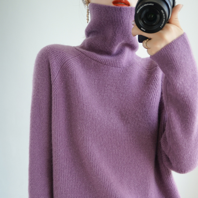 Super Warm Women Cashmere Sweaters and Pullovers Winter Turtleneck Thicken Solid Color Soft Tops Female Fashion Loose Jumper 1