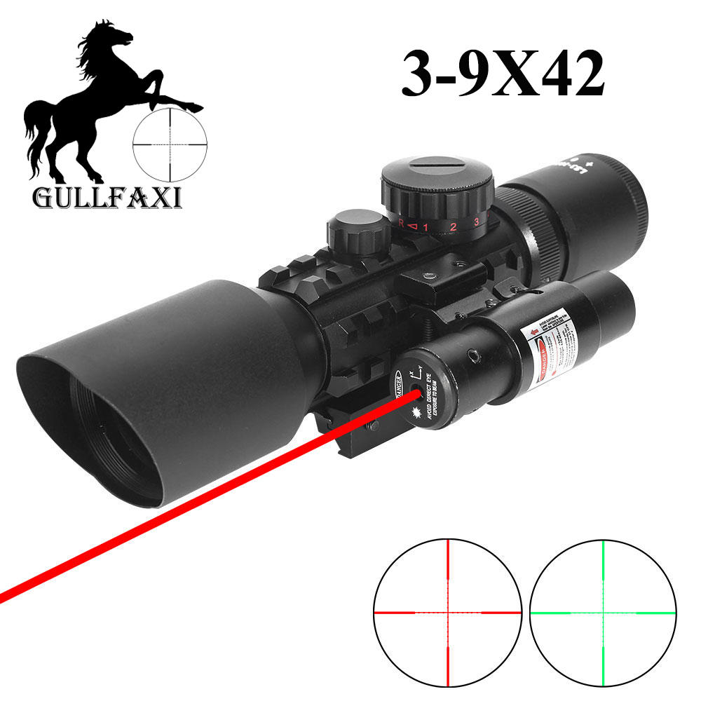 Gullfaxi Collimator Sight 3-10x42 Riflescope With Red Laser Sight Prismatic Weapon Sight Rifle Air Gun Hunting Telescopic Sight