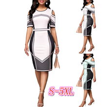 купить Elegant Print Pencil Dress Women 2019 Summer Office Plus Size O-Neck Short Sleeve High Waist Bodycon Knee-Length Dress Vestidos по цене 895.55 рублей