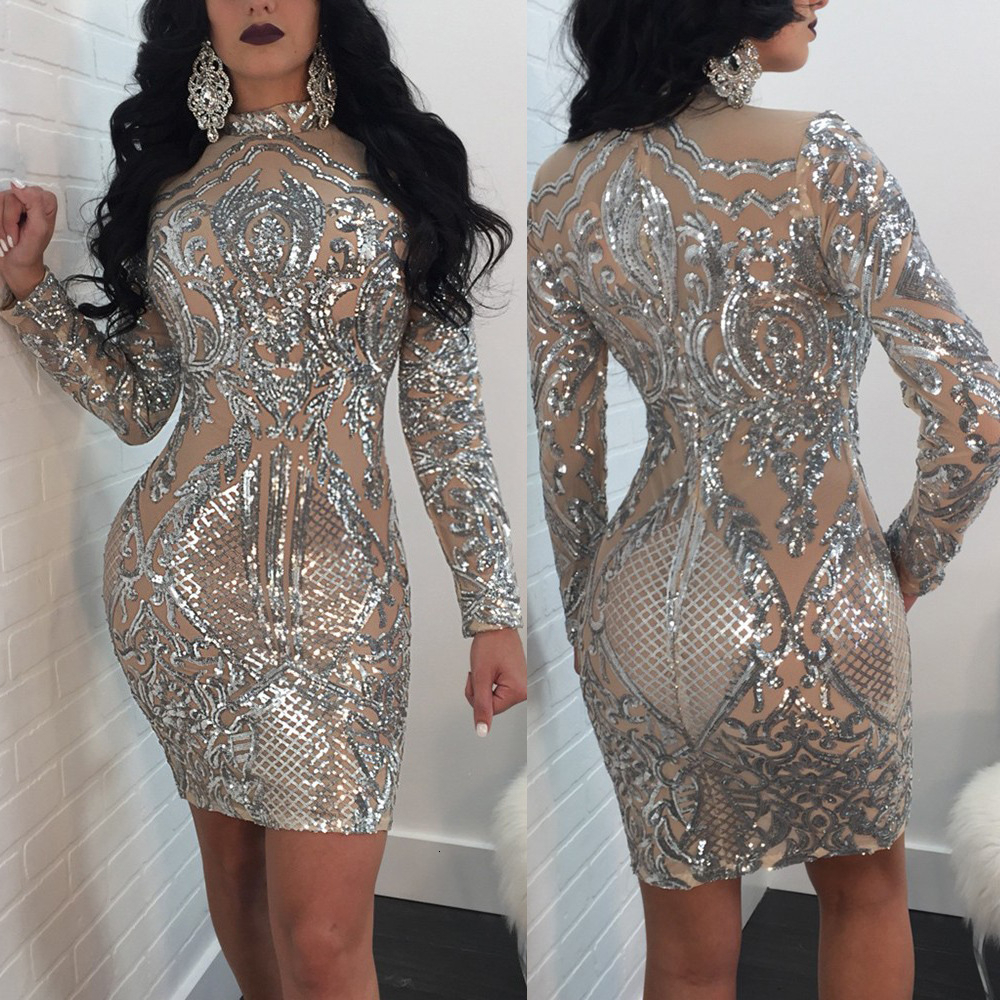 BacklakeGirls 2019 Elegant And Generous High Neck Full Sleeve Sequined Night Club Dress Cocktail Party Dress Robe Cocktail