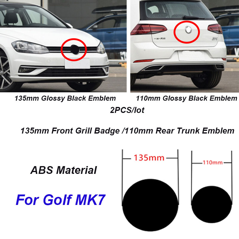 2Pcs 135mm 110mm ABS Car Front Grill Badge Rear Trunk Emblem Logo For Golf MK7