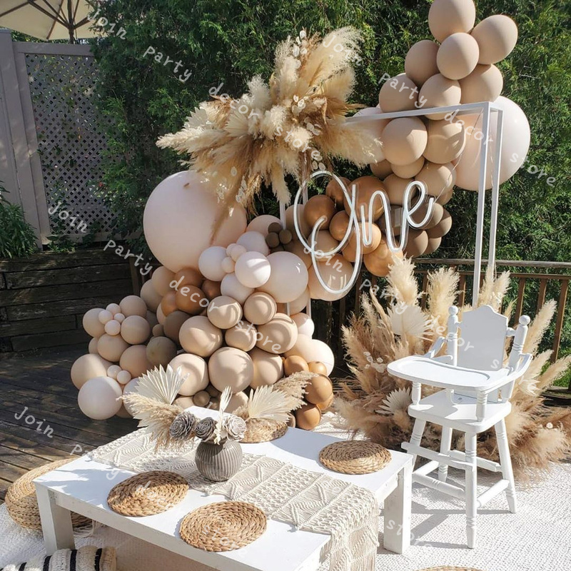 102pcs Doubled Apricot Balloons Garland Arch Wedding Decoration Blush Nude Coffee Copper Anniversary Party Baby Shower Decor