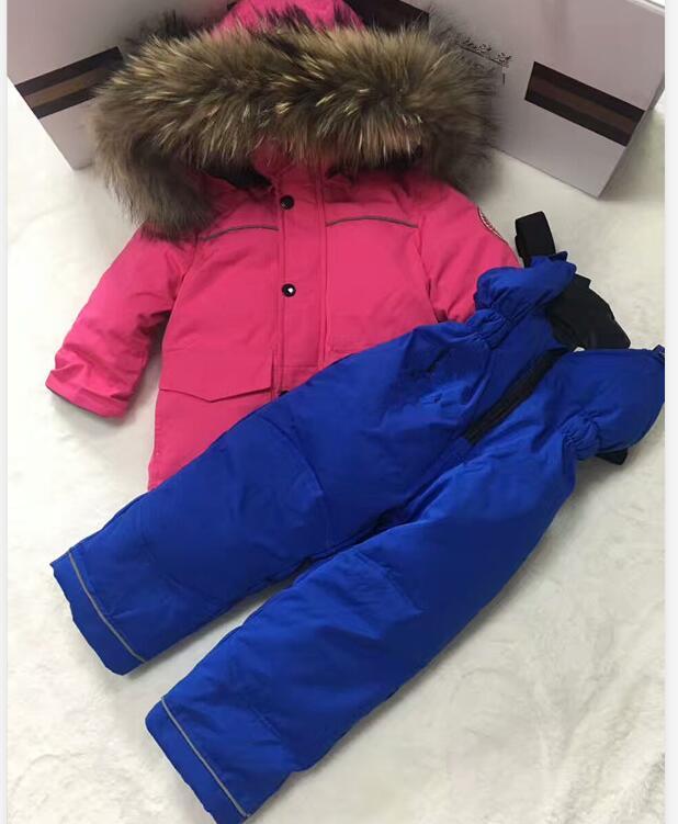 80 cm-145 cm 2019 veste d'hiver enfants vestes et pantalon en duvet de canard fourrure à capuche fille snowsuit garçon costume ensemble vêtements d'extérieur ski