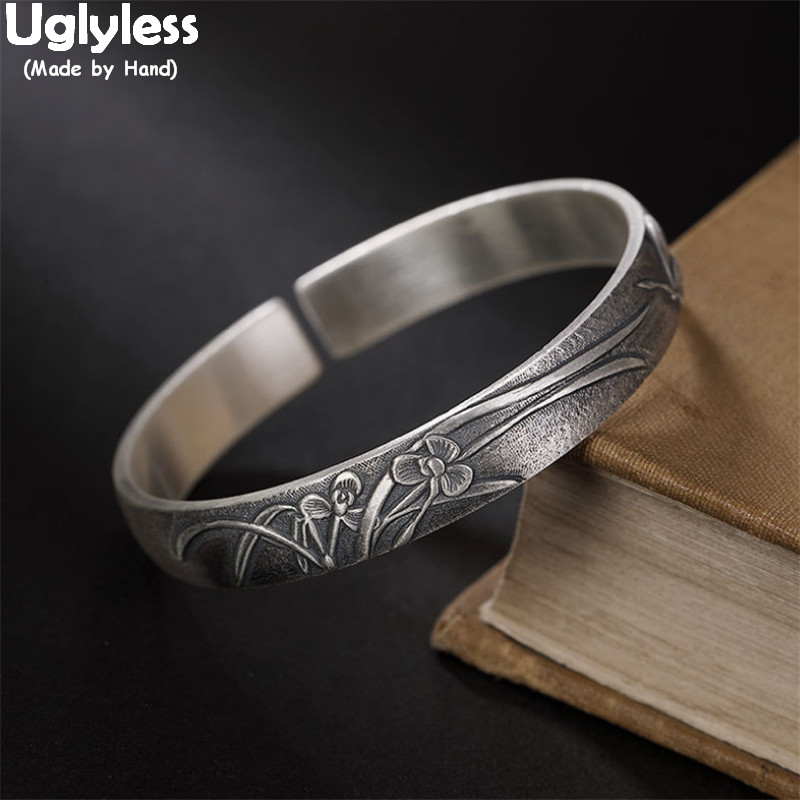 Uglyless Solid 999 Pure Silver 10MM Wide Open Bangles for Women Thai Silver Orchid Grass Retro Bangles Ethnic Dress Fine Jewelry