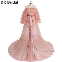 Pink Formal Evening Dresses Puffy Long Sleeves Women Boat Neck Bow Empire Evening Dresses 2019 New Dress Party robe de soiree