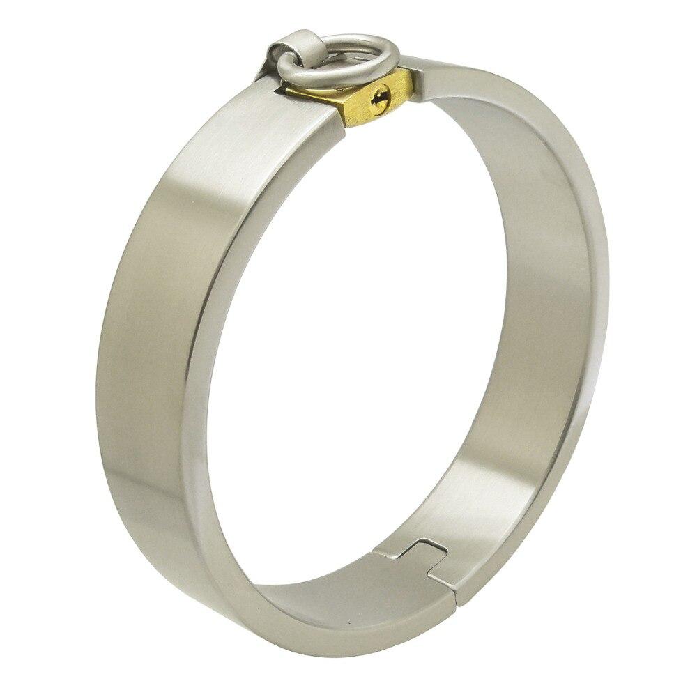 stainless steel slave collar torque fetish wear sex bondage restraints set adult game lockable choker brass lock collar