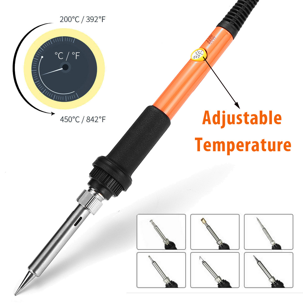 30Pcs 220V 60W Electric Soldering Iron Temperature Adjust Tool Copper Wood Burning Pen Pyrography Engrave Solder Tips Set Craft