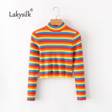2020 New Autumn Rainbow Women Sweater Full Sleeve Striped Short Pullovers Female Turtleneck Knitted Jumpers(China)