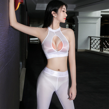 High Elastic Transparent Sexy Night Clubwear Pencil Pant Fitness Legging Pants Sexy Shiny Tops See through Open Chest Thin Vest 1