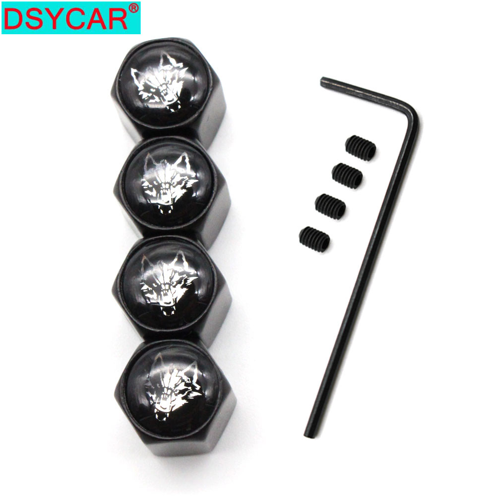DSYCAR 5Pcs/Set Car Styling Zinc Alloy Anti-theft Wolf Logo Car Tire Valve Caps Wheel Tires Tire Stem Air Cap Airtight Covers