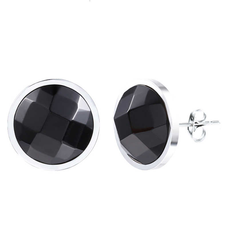 8mm Black Onyx Stud Earrings Hypoallergenic Surgical Steel