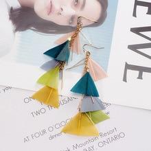 Colorful feather earrings Bohemian wind holiday long tassel 2019 fashion women korean pearl boutique