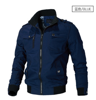 New solid color high quality men's jacket men's jacket youth casual jacket trend men's stand collar tooling jacket Bomber jacket