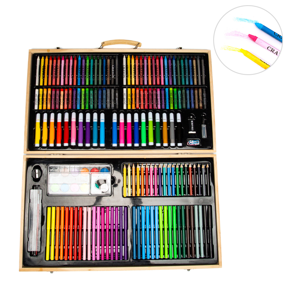 Wooden Portable Case Water Pen 180 Children's Painting Set Gift Box Crayon Color Pencil Brush Set Art Supplies Gift For Kids|Art Sets| |  - title=