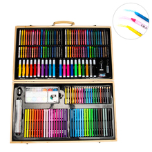 Wooden Portable Case Water Pen 180 Children's Painting Set Gift Box Crayon Color Pencil Brush Set Art Supplies Gift For Kids