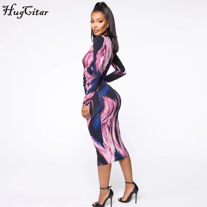 Image 4 - Hugcitar 2019 long sleeve tie tye V neck sexy midi dress autumn winter women streetwear Christmas party outfits