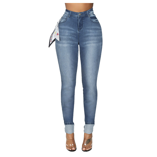 DAIGELO Women's Jeans Fashion Women High Waist Denim Pants With Silk Scarf Pocket Jeans Pencil Trouser Female Denim Jeans 2020 4