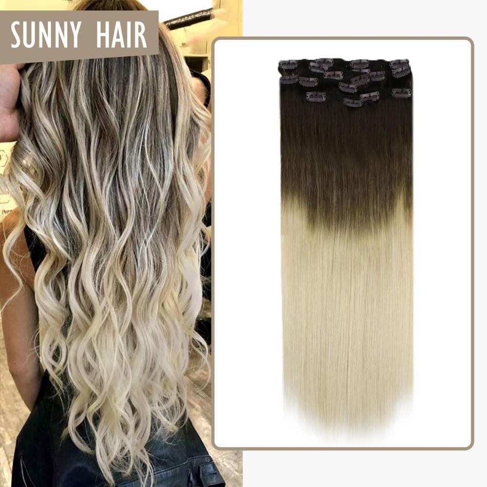 VeSunny Clip In Hair Extensions Double Weft Human Hair 7pcs Clip On Extensions Balayage Ombre Brown To Light Blonde #3/60 120gr